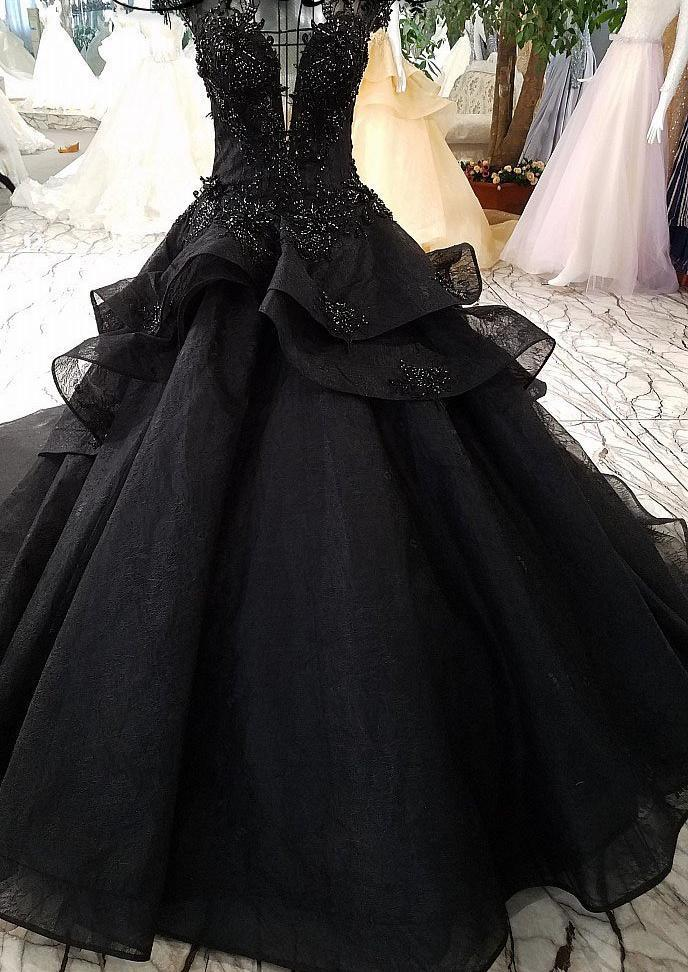 Luxury Black Gothic Beaded Wedding Dress with Train