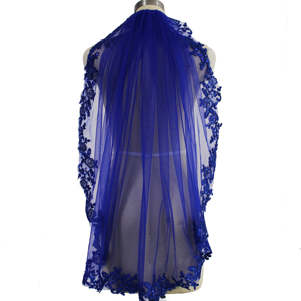 Blue Sequins Wedding Veil