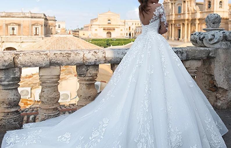 Long Sleeve Court Train Bridal Dress