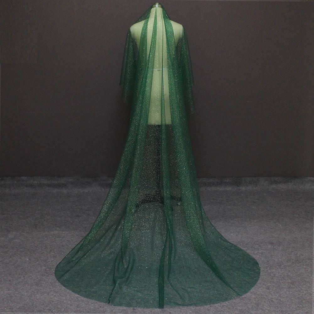 Green Wedding Veil with Gold Dust Glitters