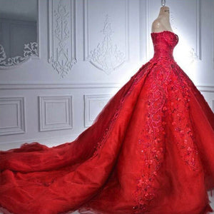 Elegant Rose Red Gothic Gown