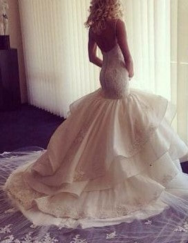 Sweetheart Appliques Bead Tiered Lace Wedding Dress