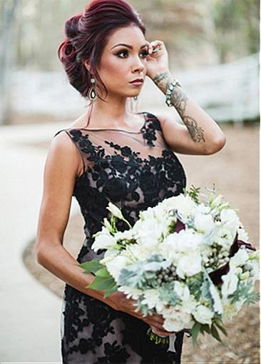 ESS Elegant Black Lace Wedding Dress