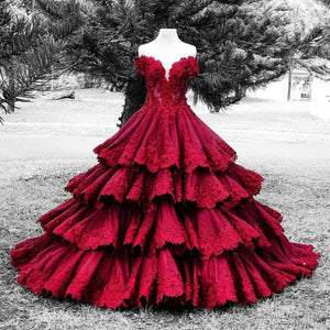 Gothic Tiered Appliques Wedding Dresses (Custom Color Available)