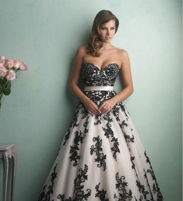 White And Black Vintage Wedding Dress