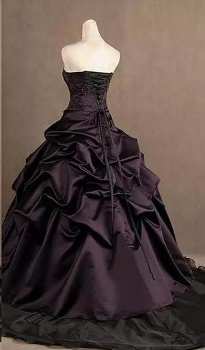 Victorian Gothic Strapless Embroidery Ruched Ball Dress