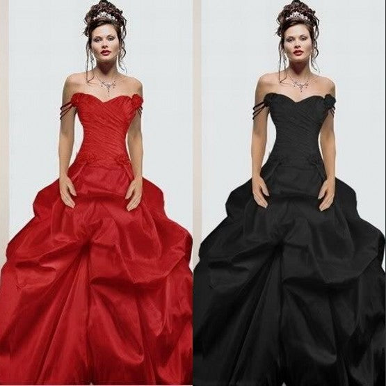 Off the Shoulder Ruffled Black and Red Wedding Gown