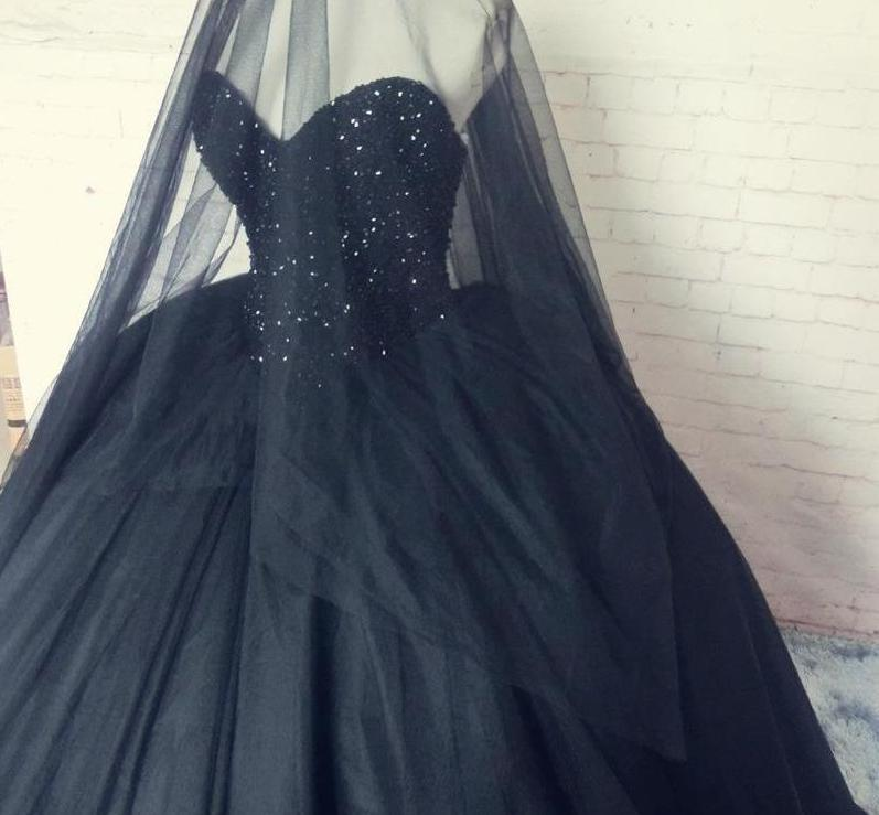 Elegant Black Gothic Wedding Gown