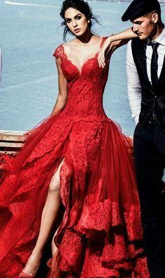 Vintage Rose Red Wedding Dress