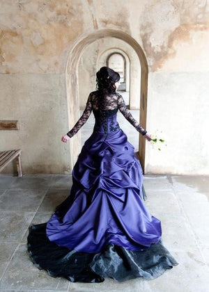 Black & Blue Custom Gothic Gown