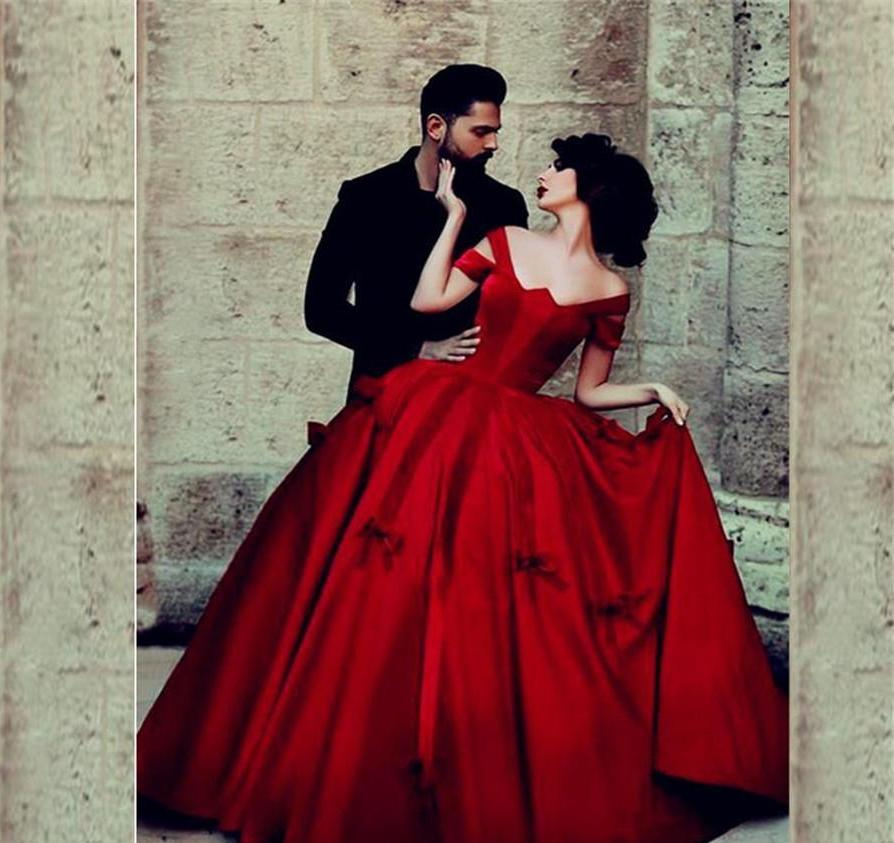Red Satin Bow Gothic Ball Gown ( Available in Black) – Matrimony Prep
