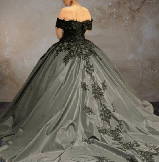 Off The Shoulder Gothic Wedding Dress