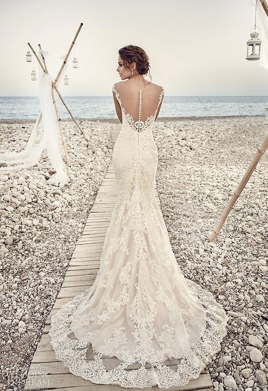 Sheer Back Mermaid Silk Satin Wedding Dress with Lace Edge Chapel Train