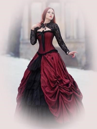Stunning Gothic Burgundy and Black Lace Wedding Gown