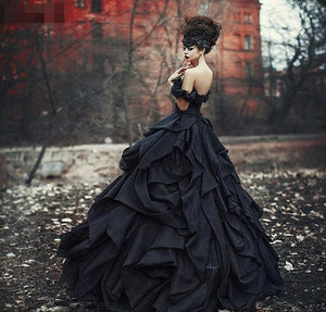 Elegant Black Victorian Custom Made Gothic Gown
