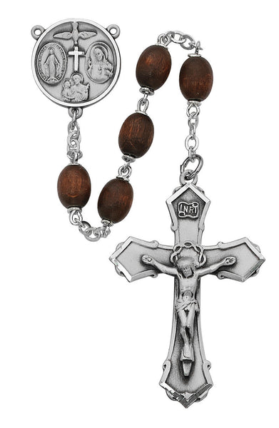 Brown Wood Oval Rosary - 6x8MM