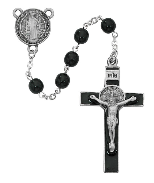 Black Glass St. Benedict Rosary