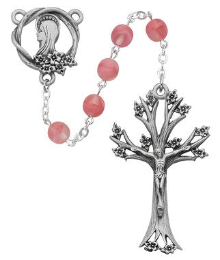 Rose Glass Dogwood Rosary - 7MM
