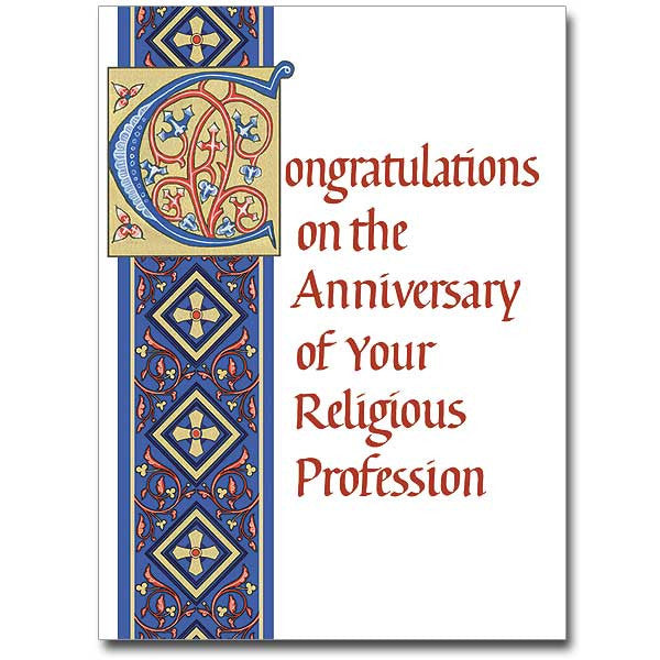 CONGRATULATIONS - Religious Profession Anniversary Card - 10 Pack