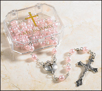 Pink Baptism Rosary