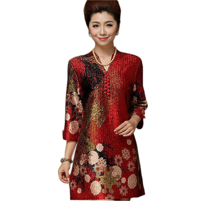 Chinese Silk Dresses Women Summer 2016 Plus Size 7XL Clothing ...