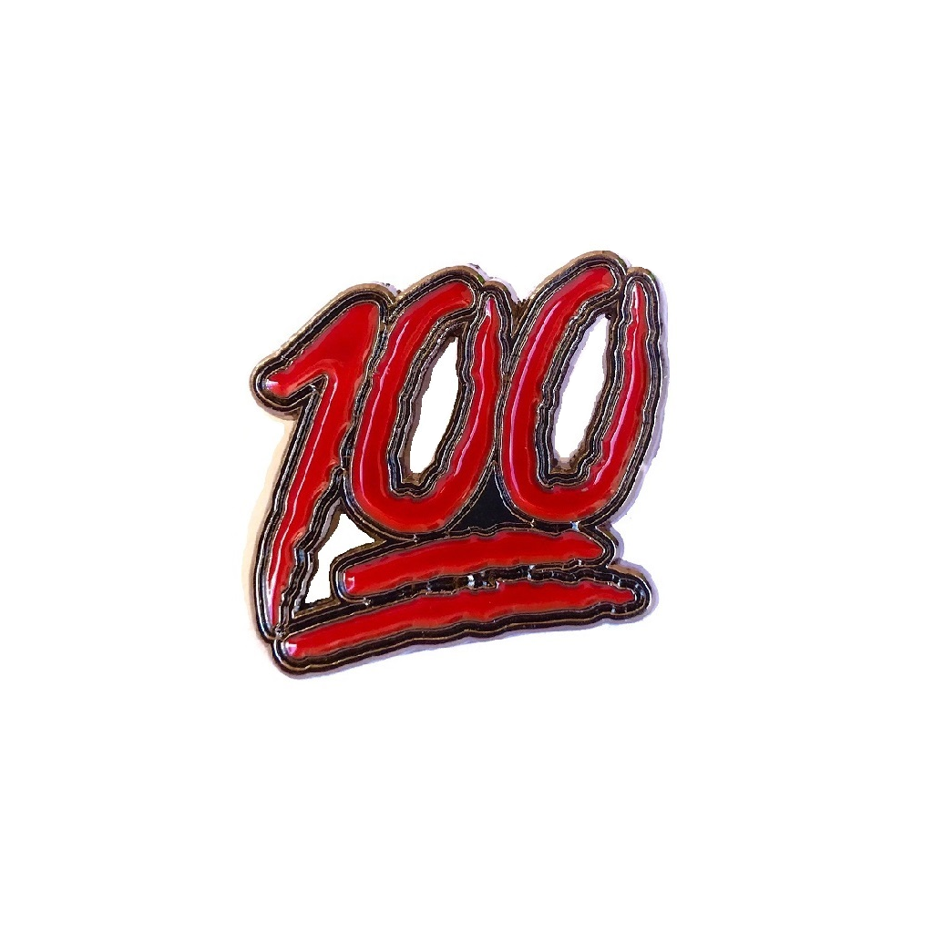Classic red Hundred (100) emoji pin accessory - pinselection