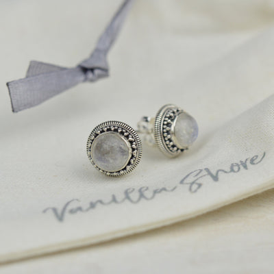 Earrings - Moonstone Stud Earrings