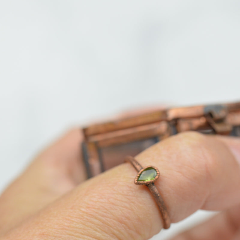 Rings - Peridot Teardrop and Copper Ring