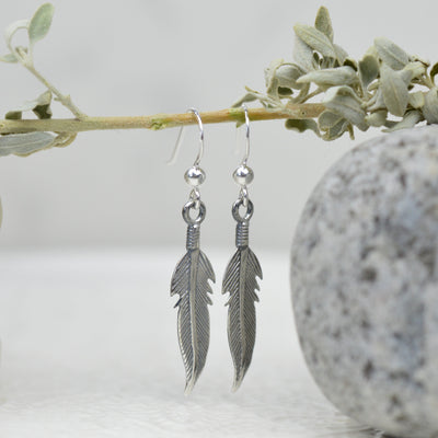 Earrings - Silver Navajo Feather Earrings