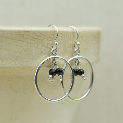 Earrings - Black Onyx Hoops