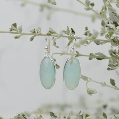 Earrings - Oval Green Chalcedony Earrings
