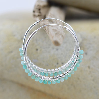 Earrings - Amazonite Beaded Gypsy Hoops