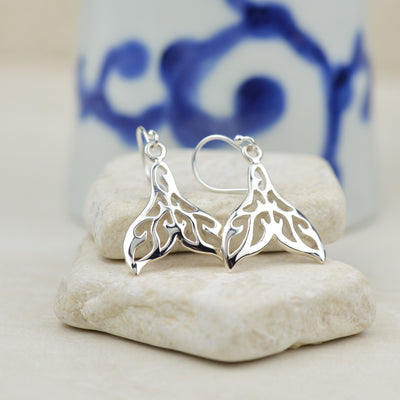 Earrings - Patterned Whale Tail Earrings