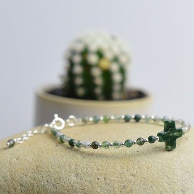 Bracelets - Green Agate Beaded Bracelet