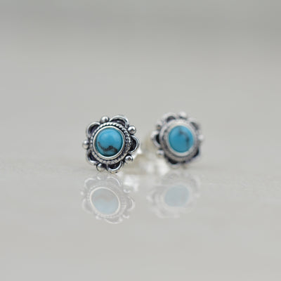 Earrings - Turquoise & Silver Boho Studs