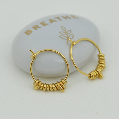 Earrings - Beaded Gold Hoops