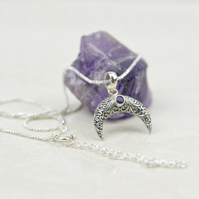 Necklaces - Amethyst Moon Necklace