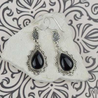 Earrings - Luxe Boheme Teardrop Black Agate Earrings