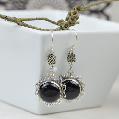Earrings - Luxe Boheme Black Agate Earrings