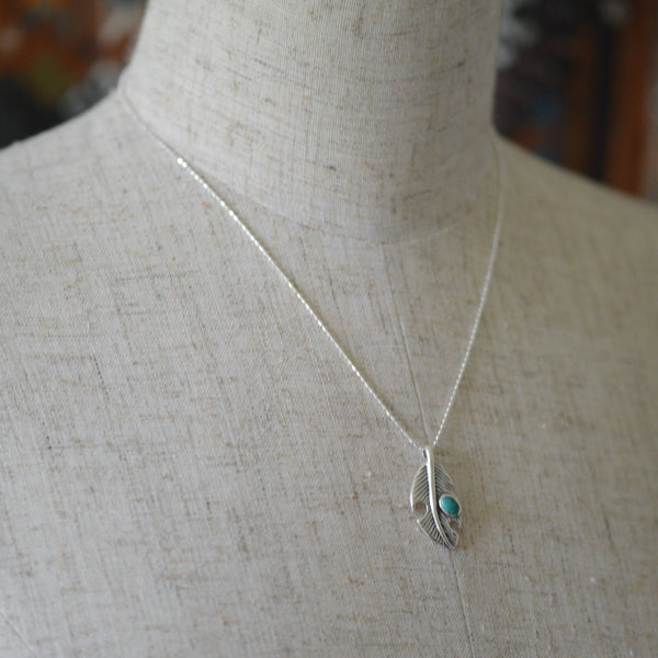 Necklaces - Sterling Silver Feather Necklace with Turquoise Stone