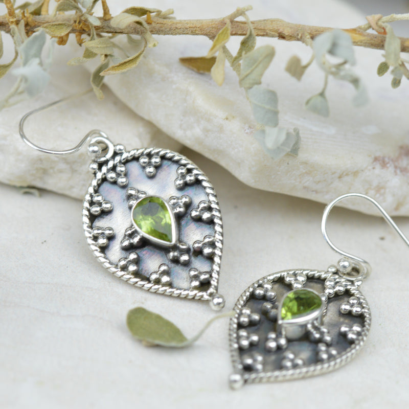 Earrings - Sterling Silver & Swarovski Peridot Earrings