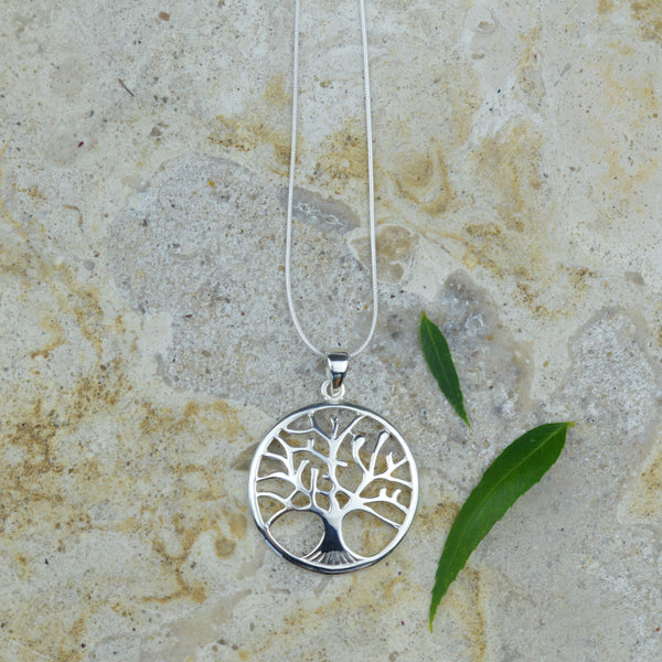 Necklaces -Long Chain Tree Of Life Pendant Necklace