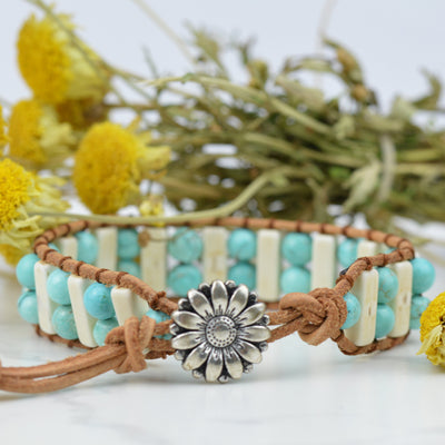 Bracelets - Flower Power Hippie Wrap Bracelet