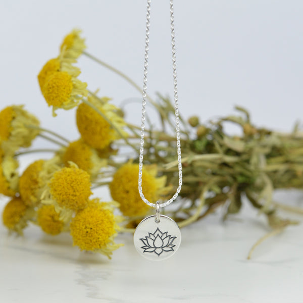 Necklaces - Sterling Silver Lotus Flower Disc Necklace