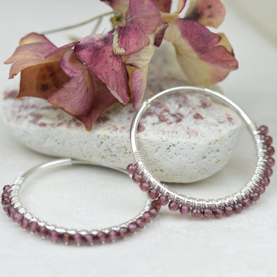 Earrings -Beaded Garnet Gypsy Hoops
