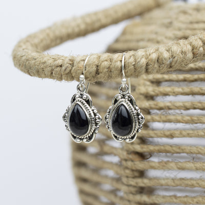 Earrings - Vintage Sterling Silver & Black Onyx Earrings