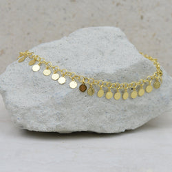 Anklets - Gold Mini Disc Gypsy Anklet