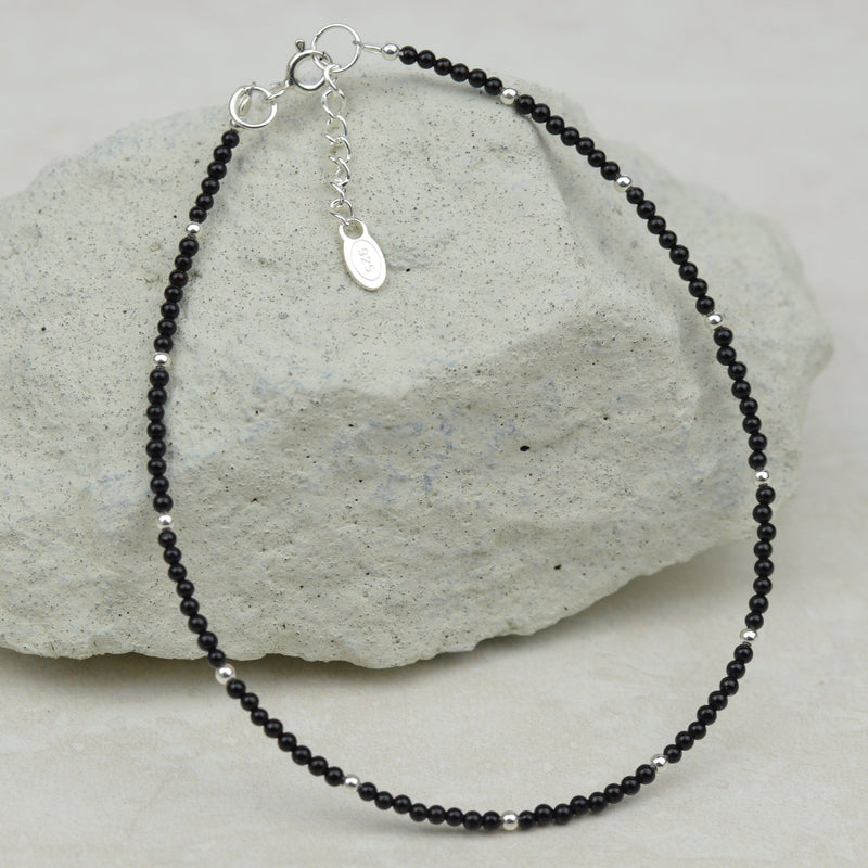 Anklets - Beaded Black Agate Anklet