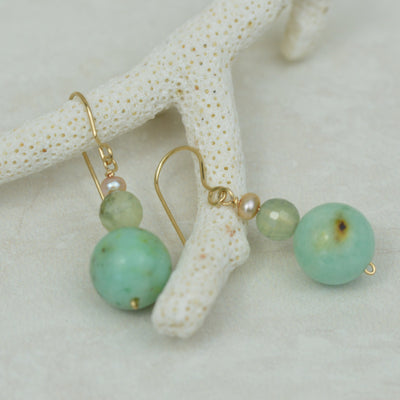 Earrings - Minty Green Agate & Prehnite Earrings