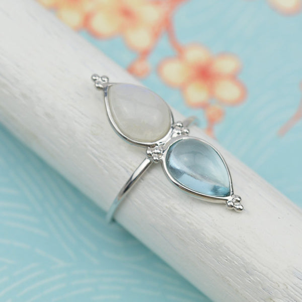 Rings - Blue Topaz and Rainbow Moonstone Ring